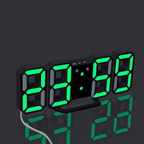 Inverlee Modern Digital LED Table Desk Night Electric Wall Clock 24 or 12 Hour Display, Home Simple Decoration (D)