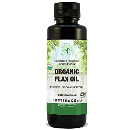 Natural Nutra Organic Flaxseed Oil Liquid  Cold Pressed And Pure  8 Oz