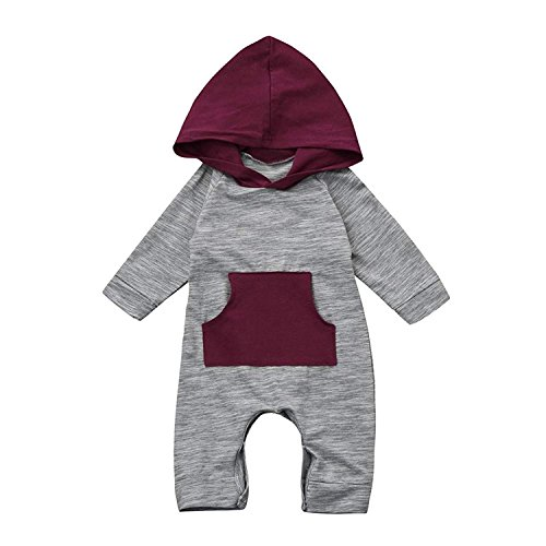 Baby Boy Girl Cute Hooded Romper Bodysuit Clothes (Gray, 0-3 Months)