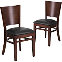 Flash Furniture 2 Pk. Lacey Series Solid Back Walnut Wood Restaurant Chair - Black Vinyl Seat