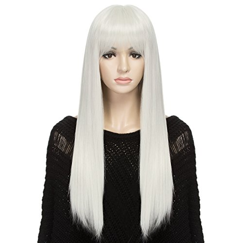 DAOTS Wig 24-Inch Straight Cosplay Synthetic Wig for Women with Wig Cap and Bobby Pins, (Common Halloween Costumes)