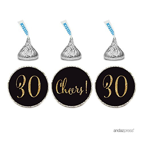 Andaz Press Gold Glitter Print Chocolate Drop Labels Stickers, Cheers 30, Happy 30th Birthday, Anniversary, Reunion, Black, 216-Pack, Not Real Glitter, for Hershey's Kisses Party Favors ()