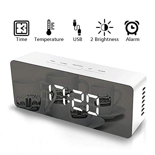 Tolmnnts Digital Alarm Clock with Dimmer,Snooze,Indoor Temperature and Extra Large LED Numerals, Both USB Cord and Battery Operated,Nice Bedroom Stand and Travel Mate, White