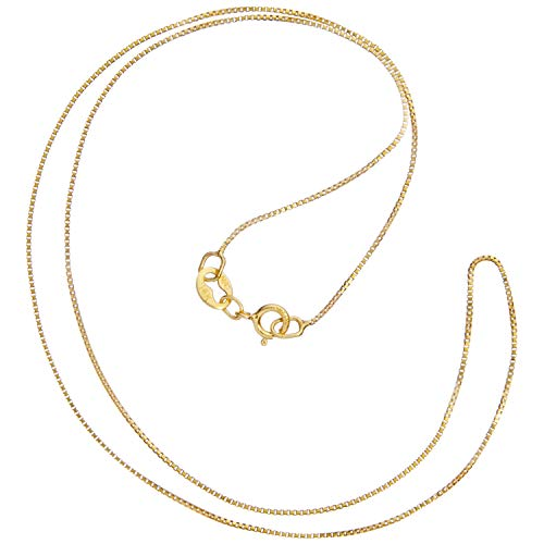 Link Chain Fine - 14K Solid Yellow Gold Necklace | Box Link Chain | 14 Inch Length | .60mm Thick | With Gift Box