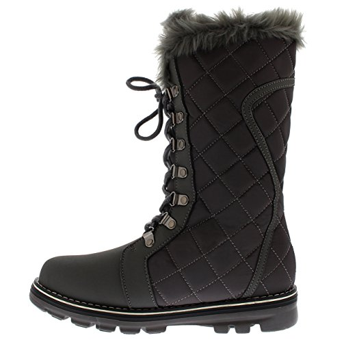 Snow Waterproof Grey Quilted Boot Lined Womens Boot Nylon Fur Rain Tall Nylon Polar Faux fCqAww7