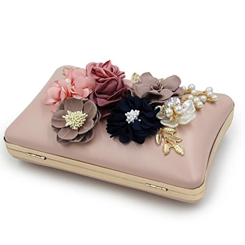 Evening Purses pink and Party 2 Flower Wedding Womens Bags Clutches Sq65wSF