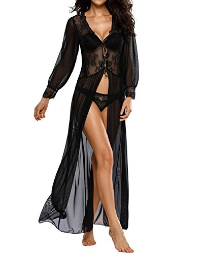 Chiffon Baby Doll Gown (MorySong Women Sexy Deep V Lace Lingerie Bridesmaid Long Gown with Long Sleeves L Black)