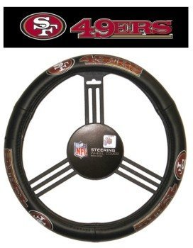 San Francisco 49ers Steering Wheel Cover - Leather - Licensed NFL Football Gift (49ers Steering Wheel compare prices)