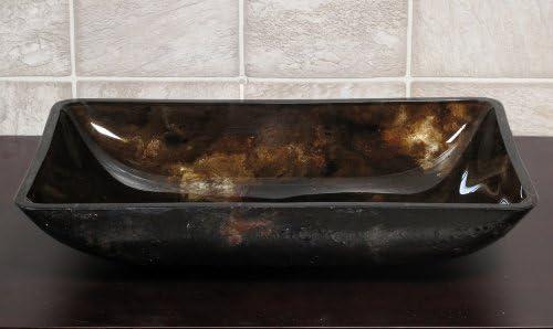 Bathroom Rectangular RE9019 Art Glass Vessel Vanity Sink Free chrome Pop Up Drain