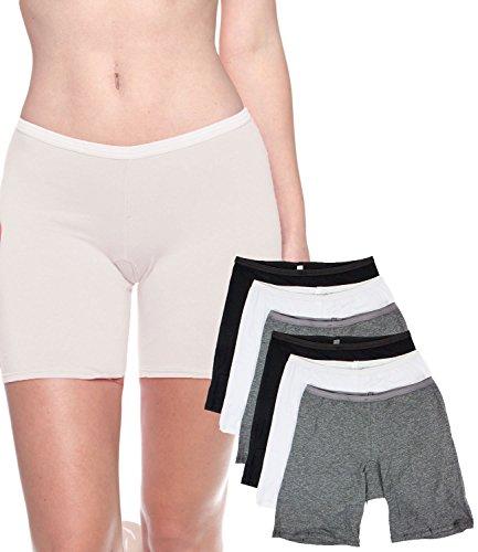 Short Leg Panties (B2BODY 6 Pack Women's Plus Size Stretch Cotton Long Leg 6.5