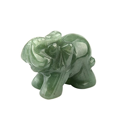 AMA(TM) Hand Carved Elephant Jade Gemstone Ornament Craft Paperweight Home Decor (Green-1PC)