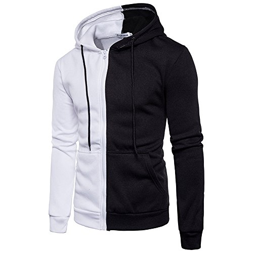 Mens Tops ! Charberry Mens Casual Sports Hooded Diagonal Sweater Coat Zipper Coat Jacket Outwear Sport Tops (US-S/CN-M, White)