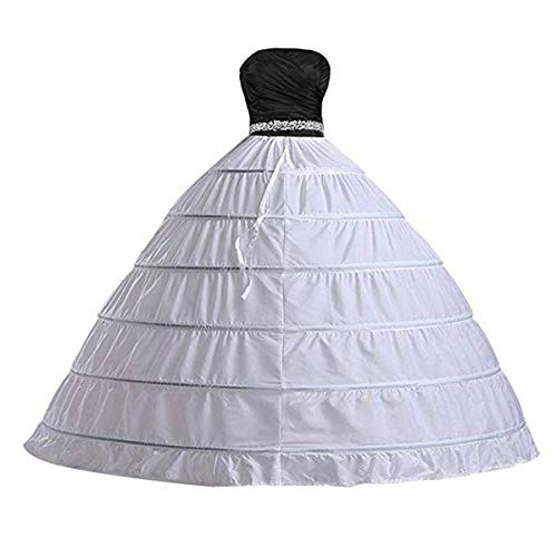 Ieuan Full White Ball Gown 6 Hoops Wedding Accessories Petticoat Underskirt Slips Quinceanera Gown for Wedding Dress