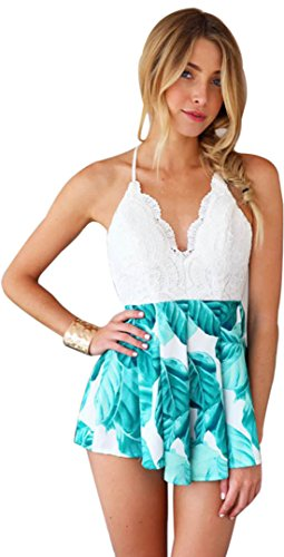 (Moxeay Deep V Neck Playsuit Backless Chiffon Short Jumpsuit (S, Green))