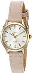 Timex Women's 'Chesapeake' Quartz Brass and Leather Dress Watch, Color:Brown (Model: TW2P820009J)