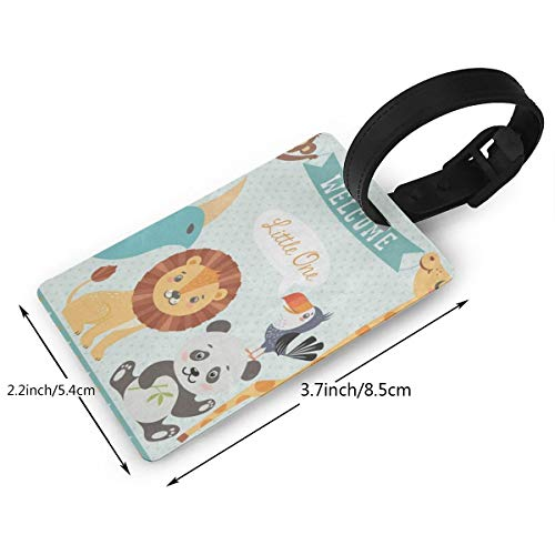 Luggage Tags Custom Cute Jungle Animal Lion Bird Monkey PVC Suitcase Labels Travel Accessories ID Labels (1pcs) ()