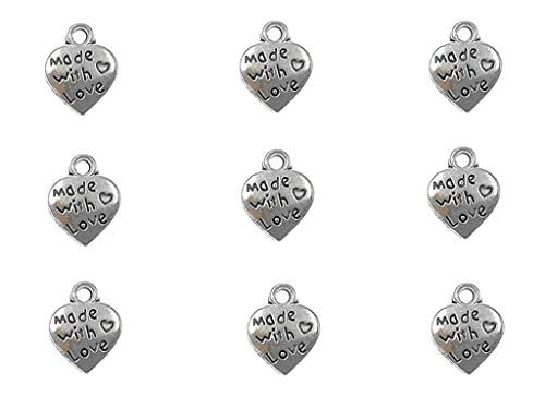 100pcs Made with Love Lettering Charm Peach Heart Shape Double-Side Pendant for DIY Bracelet Necklace Jewelry Making Findings(Silver Tone) ()