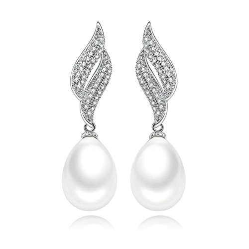 (Adisaer Womens Earrings Dangle Gold Plated EarringsPearl Earrings Drop for Bride Long Earrings White CZ )
