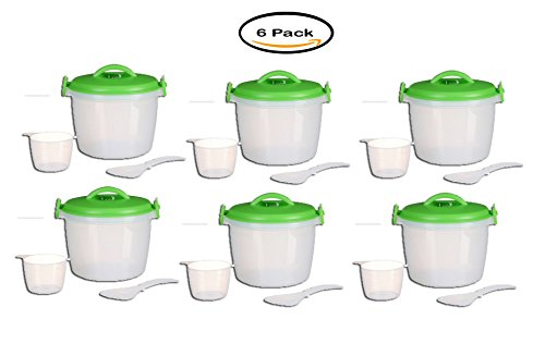 Pack of 6 - Progressive Prep Solutions Miracleware Microwave Rice Cooker Set 4 pc. Pack
