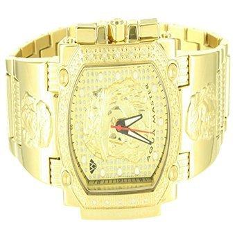 14k Yellow Gold Finish Metallic Mens Jesus Christ Dial Iced Aqua Master Watch 14k Yellow Gold Wrist Watch