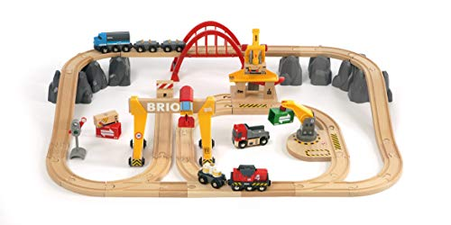 BRIO 33097 Cargo Railway Deluxe Set | 54 Piece Train Toy with Accessories and Wooden Tracks for Kids Age 3 and -