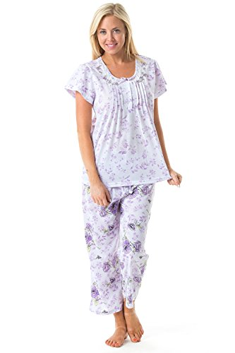 Casual Nights Women's Short Sleeve Embroidered Floral Capri Pajama Set - Purple - XX-Large ()