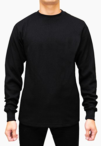 Access Men's Heavyweight Long Sleeve Thermal Crew Neck Top Black 2X (Heavy Thermal Underwear Men)