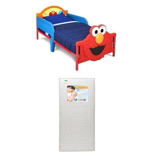 Delta Children 3D-Footboard Toddler Bed, Sesame Street  with Twinkle Stars Crib & Toddler Mattress