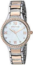 Anne Klein Women's Swarovski Crystal Accented Silver-Tone and Rose Gold-Tone Bracelet Watch