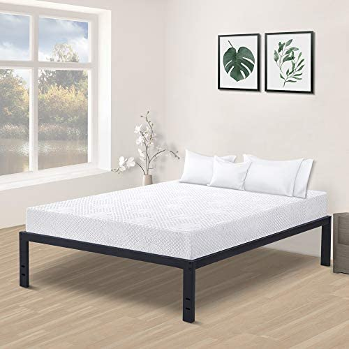 Olee Sleep New Dura Metal Steel Slate Bed Frame, King, Black