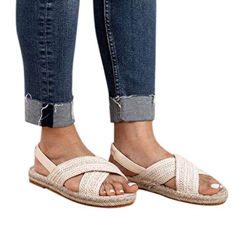 Womens Sandals Fashion Flats Straw Hemp Rope Elastic Band Casual Shoes Roman Open Toe Sandals White