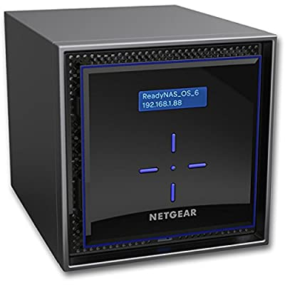NETGEAR ReadyNAS RN424 4 Bay Diskless High Performance NAS, 40TB Capacity Network Attached Storage, Intel 1.5GHz Dual Core Processor, 2GB RAM, (RN42400) by Netgear Inc