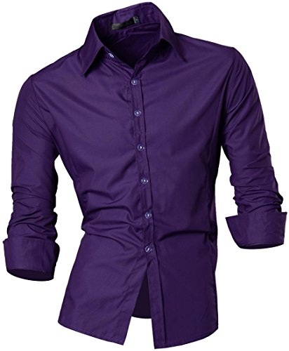 jeansian Herren Freizeit Hemden Shirt Tops Mode Langarmshirts Slim Fit 8312 (US L, Z008_13_Purple)