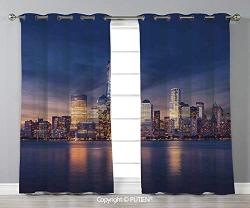 Grommet Blackout Window Curtains Drapes [ Cityscape,New York City Manhattan After Sunset View Picture with Skyline Reflection on River,Navy Gold ] for Living Room Bedroom Dorm Room Classroom Kitchen C