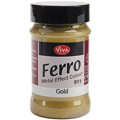 Viva Decor 3-Ounce Ferro Metal Effect Textured Paint, Gold