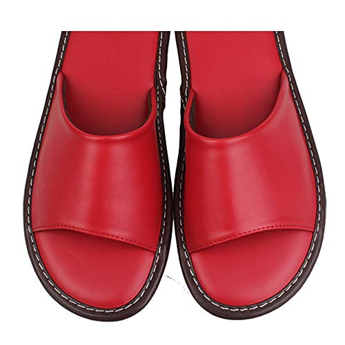 Wall Indoor amp; Outdoor Slip Men Floor Night Leather Women Shoes onindoor nbsp;house Red For And Slippers Comfortable Sandals f4SwB