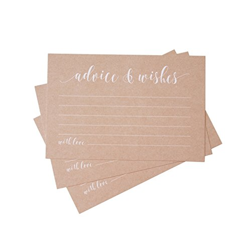 Kraft Rustic Advice Cards & Well Wishes | Bridal Shower Games, Wedding Reception, Baby Shower, Graduation | 4x6 inches (50 Count) by CaliRustic by CaliRustic