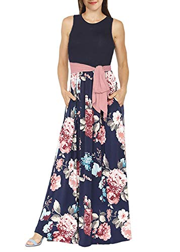 Demetory Women`s Boho Summer Sleeveless Empire Waist Floral Flowy Long Maxi Dress Medium