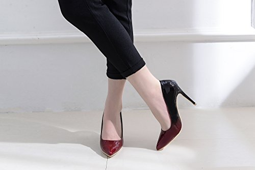 Mila Lady Bonnie08 Donna Moda Impreziosita Scintilla Contrasto Colore Scarpe A Punta Pompe Tacco Alto Stiletto Sexy Slip On Scarpe Da Sera, Rosso / Bur