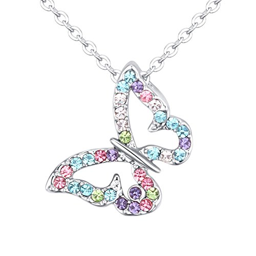 Multi-color exquisite butterfly crystal pendant necklace for women and Children's Delicate gift PCCP (Style 1) (Pendant Butterfly Child)