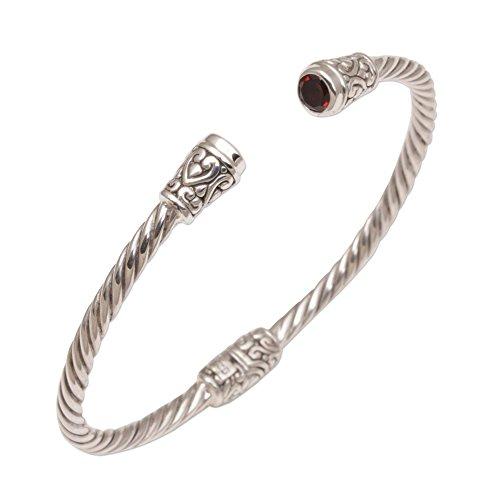 NOVICA Garnet .925 Sterling Silver Cuff Bracelet 'Spiral Temple'