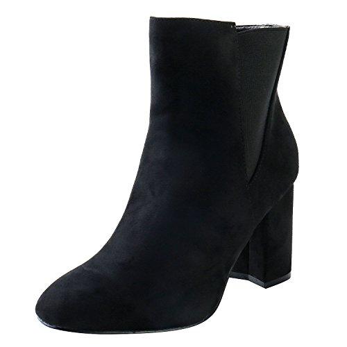 Alexis Leroy Kvinna Mocka Blocket Hälen Elastiska Stycket Dragkedja Halka På Boots Svart
