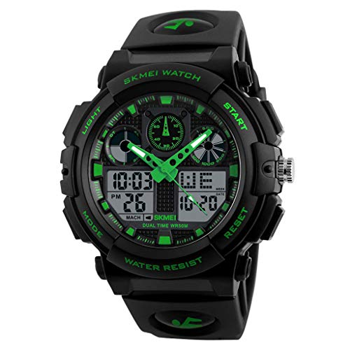 (IslandseSKMEI Men LED Large Dial Digital Watch Waterproof Alarm Calendar Sport Watch (Green))