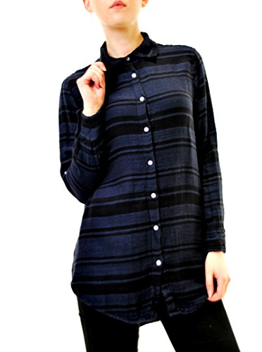Sundry Women's Oversized Flannel Striped Shirt Blue Size US 1