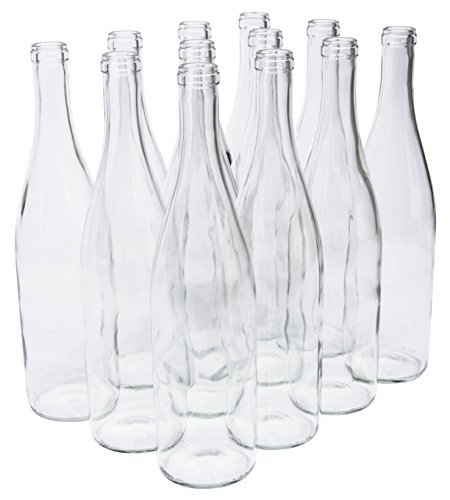 North Mountain Supply 750ml Glass California Hock Wine Bottle Flat-Bottomed Cork Finish - Case of 12 - Clear/Flint