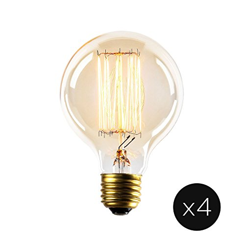 Edison Globe G25 Vintage Light Bulbs, Fully Dimmable, Warm White, 40W (E26), Squirrel Cage Filament, Brooklyn Bulb Co. Midwood Design - Set of 4