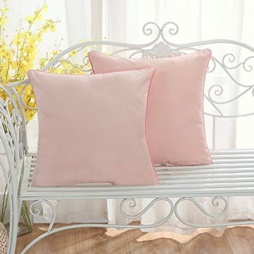 Set of 2 Solid Decorative Throw Pillow Covers Cases for Sofa Couch Bed,100 Percents Cotton Square Pillow Covers Euro Shams Cozy Soft Cushion Covers 18x18 Inch,Best for Home Décor (Peach) (Decorative Pillows Peach)