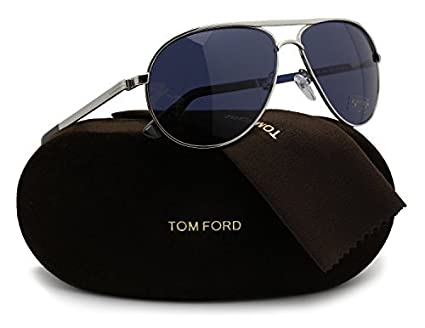 ae8e4b558fe1 Amazon.com  TOM FORD FT0144 Marko Sunglasses Silver w Dark Blue (18V ...