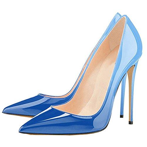 High Party Womens Heel Pointed Pumps on Wedding Blue Stiletto Lovirs Slip Toe Basic Shoes Gradient tUHBvwqw