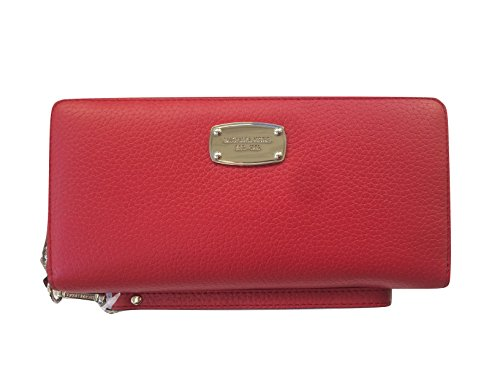 Michael Kors Leather Jet Set Travel Continental Zip Around Wallet Wristlet (Red) by Michael Kors